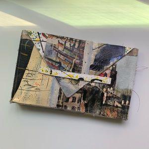 Artsy Handmade Painted Burlap Envelope Clutch